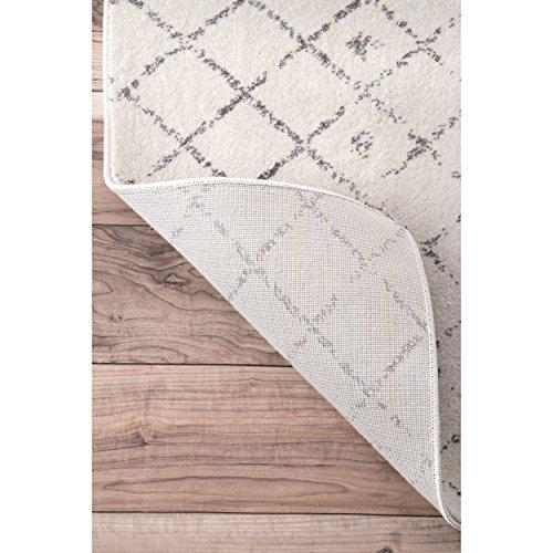 Traditional Vintage Moroccan trellis Doormat Grey Area Rugs, 2 Feet by 3 Feet (2′ x 3′)
