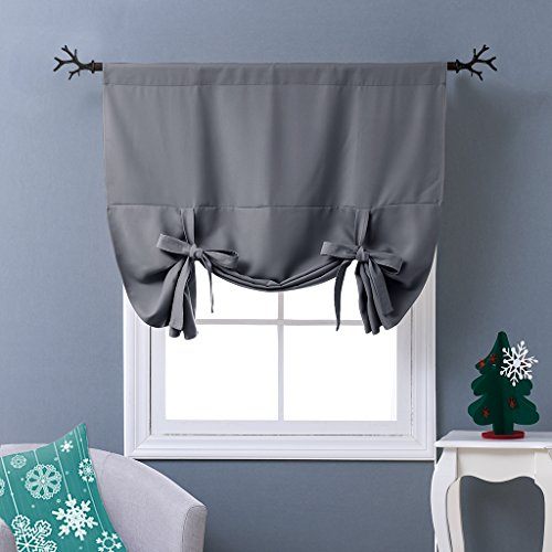 Nicetown Thermal Insulated Grey Blackout Curtain Tie Up