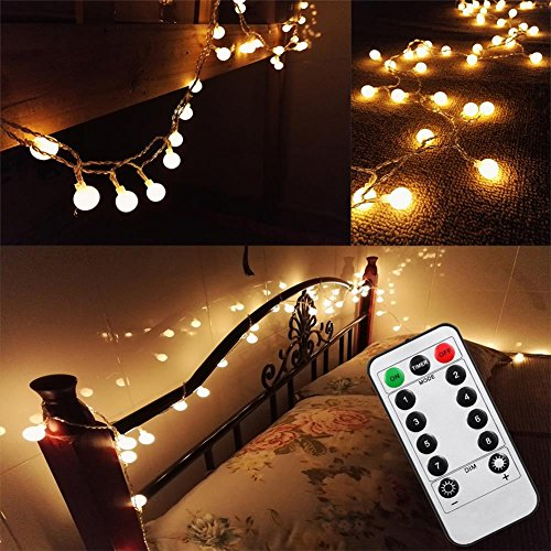 Updated Version Bedroom Wedding 16 Feet 50leds Led Globe String Lights Battery Powered With Remote Timer Outdoor Indoor Ambient Lighting For Garden